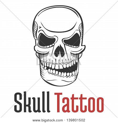 Smirking and scary human skull tattoo with grin and naked teeth. Fearsome and dangerous, grim and dreadful, fatal and spooky skeleton mascot or emblem.