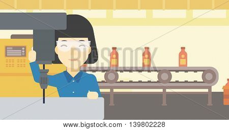 An asian woman working on milling machine at workshop. Woman using milling machine at factory. Woman making a hole using a milling machine. Vector flat design illustration. Horizontal layout.