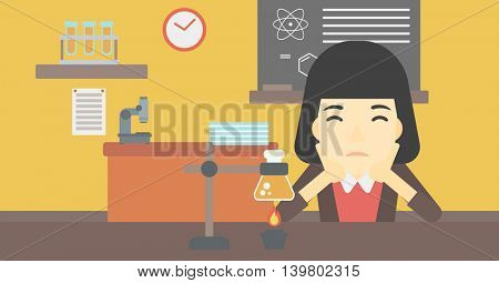 An asian young student carrying out experiment in science class. Student working at laboratory class. Student clutching head at chemistry class. Vector flat design illustration. Horizontal layout.