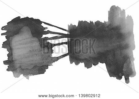 Black watercolor stain. Watercolour abstract hand painted textured wet ink spot for background.