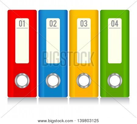 Vector stock of colorful file document ring binder stacked