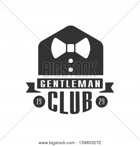 Gentleman Club Label WIth Bow Tie In Black And White Graphic Flat Vector Design
