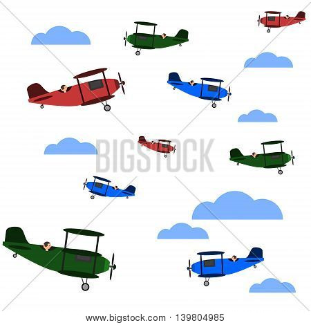Seamless vintage background with airplanes and clouds. Isolated vector illustration. Contains old aircrafts, such as biplanes and triplanes in red, green and blue color.