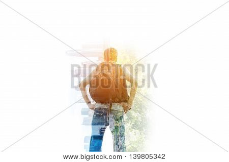 Double exposure of backpacker standing on waterfall and skyscrapers on white background.