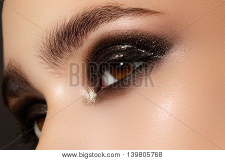 Elegance Close-up Of Female Eye With Classic Dark Brown Smoky Ma