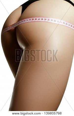 Beautiful Female Body Part. Sexy Female Buttocks Isolated On Whi