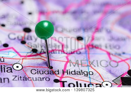 Ciudad Hidalgo pinned on a map of Mexico