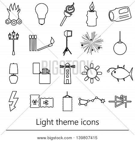 Light Theme Modern Simple Black Outline Icons Light Source Eps10