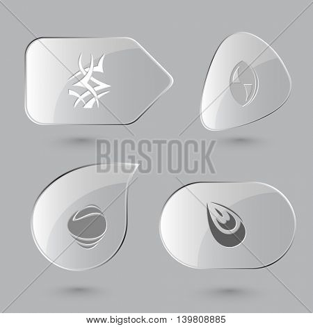 4 images: unique abstract forms. Abstract form set. Glass buttons on gray background. Vector icons.