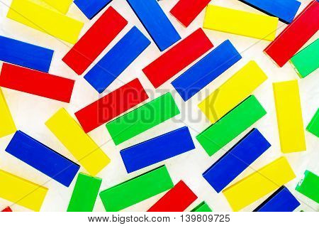generic plastic toys with no copy rights, representing objects as colorful bricks, suitable for infants to play
