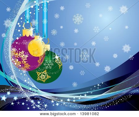 Christmas (New Year) greeting postcard. Vector illustration. poster
