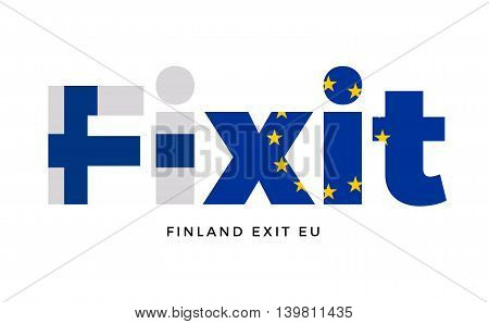 FINEXIT - Finland exit from European Union on Referendum. Vector Isolated