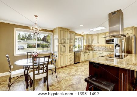 Luxury Kitchen Interior In Light Beige Color