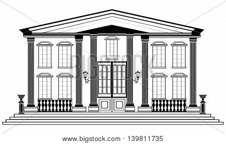 Vector architectural vector photo free trial bigstock vector architectural facade wire frame blueprint drawing of classic building vector architectural template background malvernweather Gallery