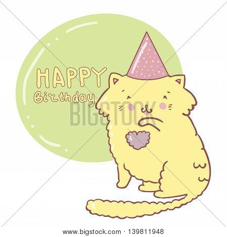 Vector happy birthday illustration cat. Ideal for party invitations.