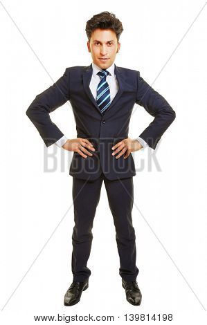Successful business manager with his arms akimbo