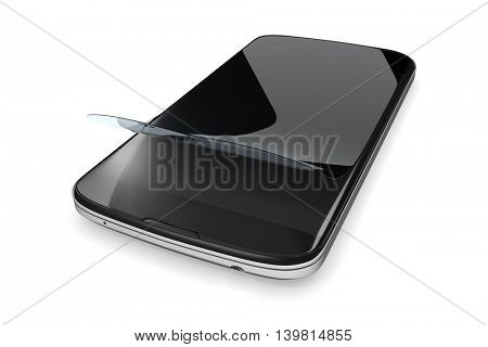 3d rendering of a smartphone with a protection film