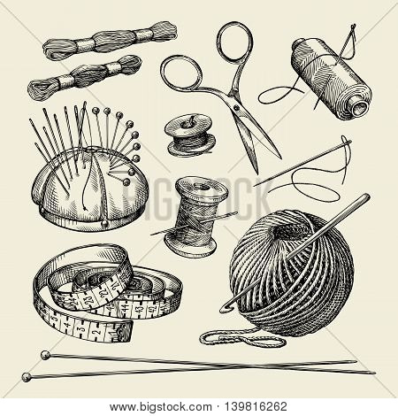 Sewing notions. Hand-drawn thread, needle, scissors, yarn, knitting needles crochet Vector illustration