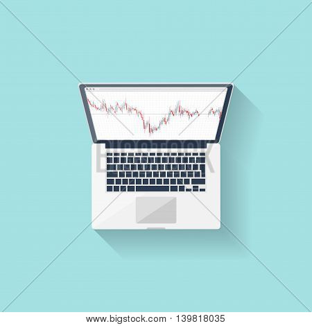 Online trading. Forex. Flat style. Investing in internet. Vector illustration Market news