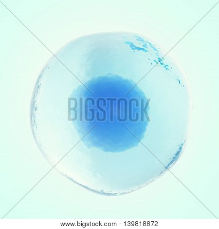 Single human or animal cell on blue background. 3d illustration