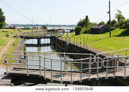 Lydney harbour lock gates Gloucestershire England uk