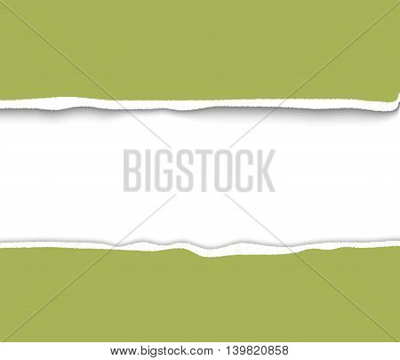 Torn papre with rough edges frame for design and scrapbooking. Green torn paper. Realistic vector torn paper illustration