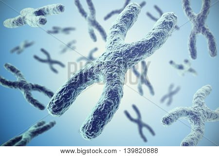 Chromosomes on blue background, scientific concept 3d illustration