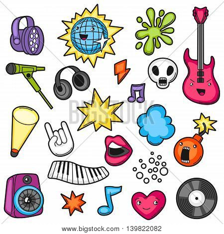 Music party kawaii set. Musical instruments, symbols and objects in cartoon style. poster