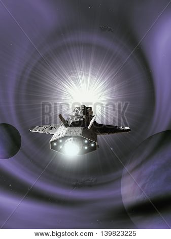 Science fiction illustration of an interplanetary spaceship approaching light speed entering a purple wormhole in space, digital illustration (3d rendering)