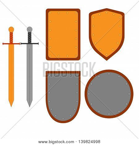 Set of signs shield sword. Combat colorful icon isolated on white background. Silver gold images. Flat mark. Symbol of a steel bronze elements. Logo for military security. Stock vector ilustration