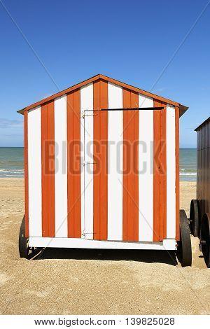 Beach cabins at the Northsea De Panne Belgium