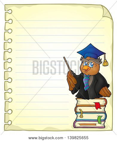 Notebook page with owl teacher 1 - eps10 vector illustration.