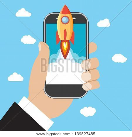 Hand holds smartphone with Space rocket launch. Startup concept. Vector illustration in flat style