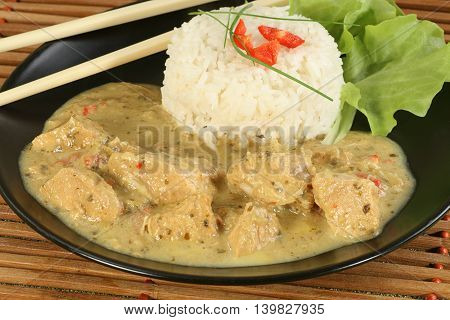 Thai green chicken curry and sticky rice