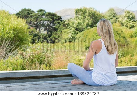 Rear view of a mature woman sitting in yoga pose. Portrait of mature woman relaxing outdoor with yoga exercise. Rear view of relaxed woman meditating in yoga pose.