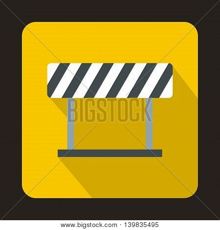 Traffic barrier icon in flat style on a yellow background