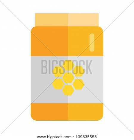 Glass jar with honey hundredth symbol. Concept vector in flat style design. Illustration for application icons, apiary logotype, food packaging, infographics. Isolated on white background.