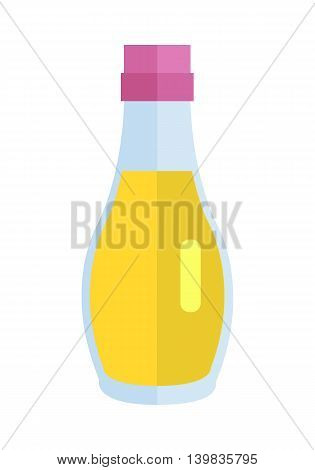 Bottle with oil vector. Flat design. Small jar filled vegetable oil.  Cooking base product. Sunflower, olive oil Illustration for icon, label, print, logo, menu design, food infographics. Isolated on white.