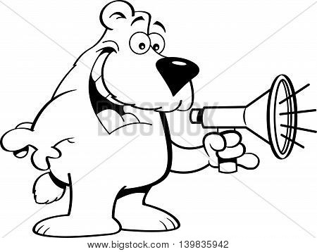 Black and white illustration of a bear talking into a megaphone.