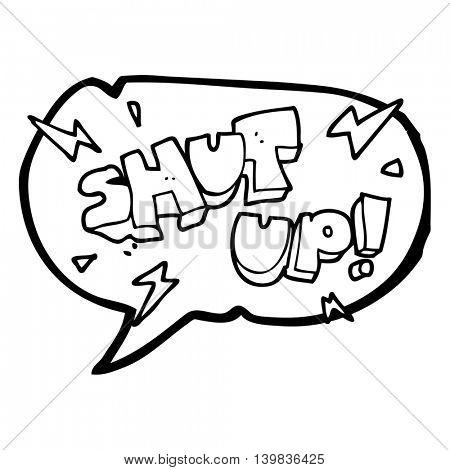 freehand drawn speech bubble cartoon shut up! symbol