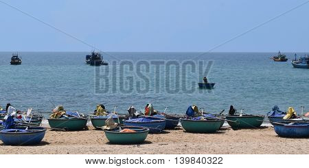 ke ga beach and traditional basket boat on the sand of fishing village muine vietnam