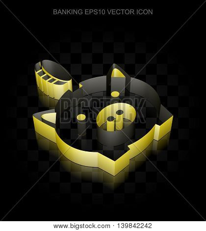 Money icon: Yellow 3d Money Box With Coin made of paper tape on black background, transparent shadow, EPS 10 vector illustration.