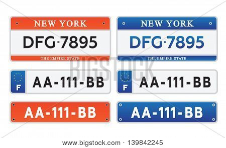 Car number plates license set vector illustration eps 10