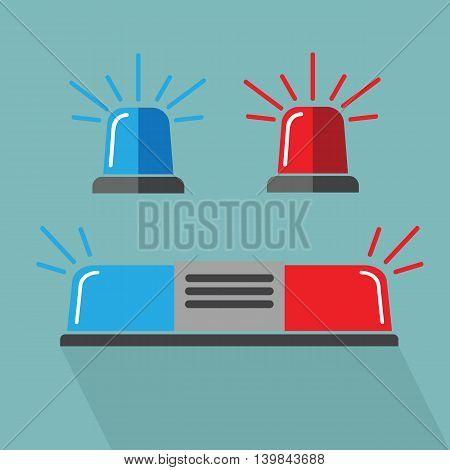 Siren set. Police flasher or ambulance eps 10