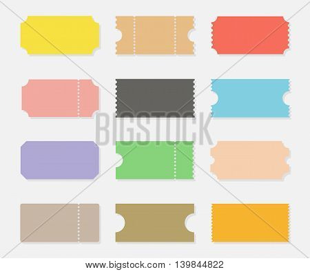 Blank shapes of tickets vector set isolated from background. Ticket templates for events such as movie concert sports or party. Vintage ticket stubs in flat style.