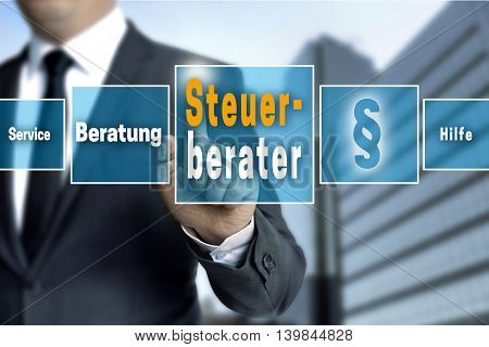 Steuerberater (in German Tax Consultant, Service, Help, Advice) Touchscreen Concept Background