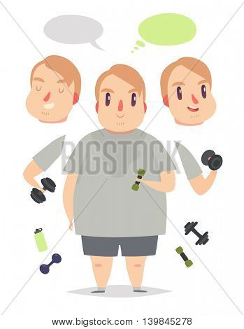 Fat sweating man lifts weights and exercises. Pack of body parts, emotions and equipment. Vector character illustration in cartoon style.