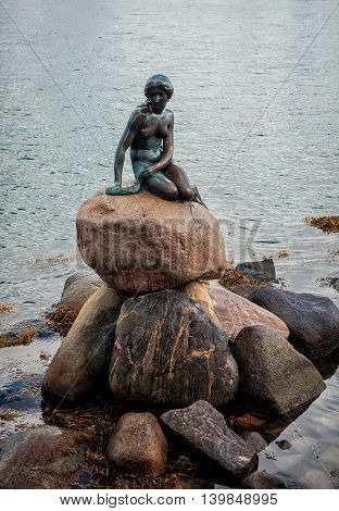 Copenhagen Denmark - 29 July 2015: The Little Mermaid statue by Edvard Eriksen is displayed on a rock by the waterside at the Langelinie promenade in Copenhagen Denmark.