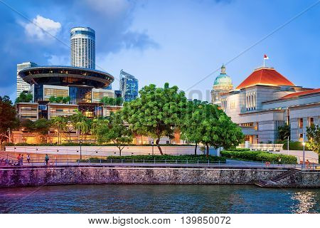 Parliament And Old And New Supreme Court Building In Singapore