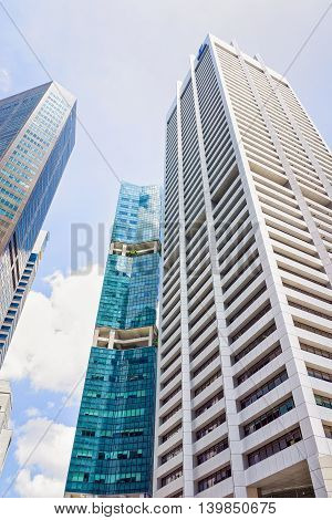 Skyscrapers Of Raffles Place In Financial Center Of Singapore